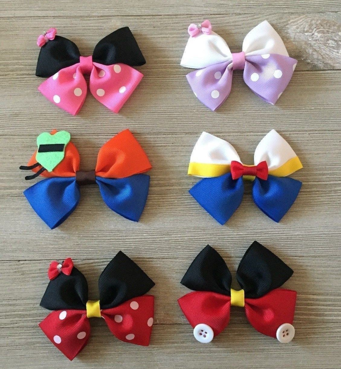 """Girls Hair Bow 3 1//2/"""" Wide Flower Red Blk Hearts Minnie Sparkly French Barrette"""