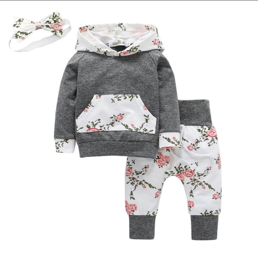 Baby Girls Hoodies Long Sleeve Floral Top+Pant 2PCS Set Outfits Suit 0-24 Months