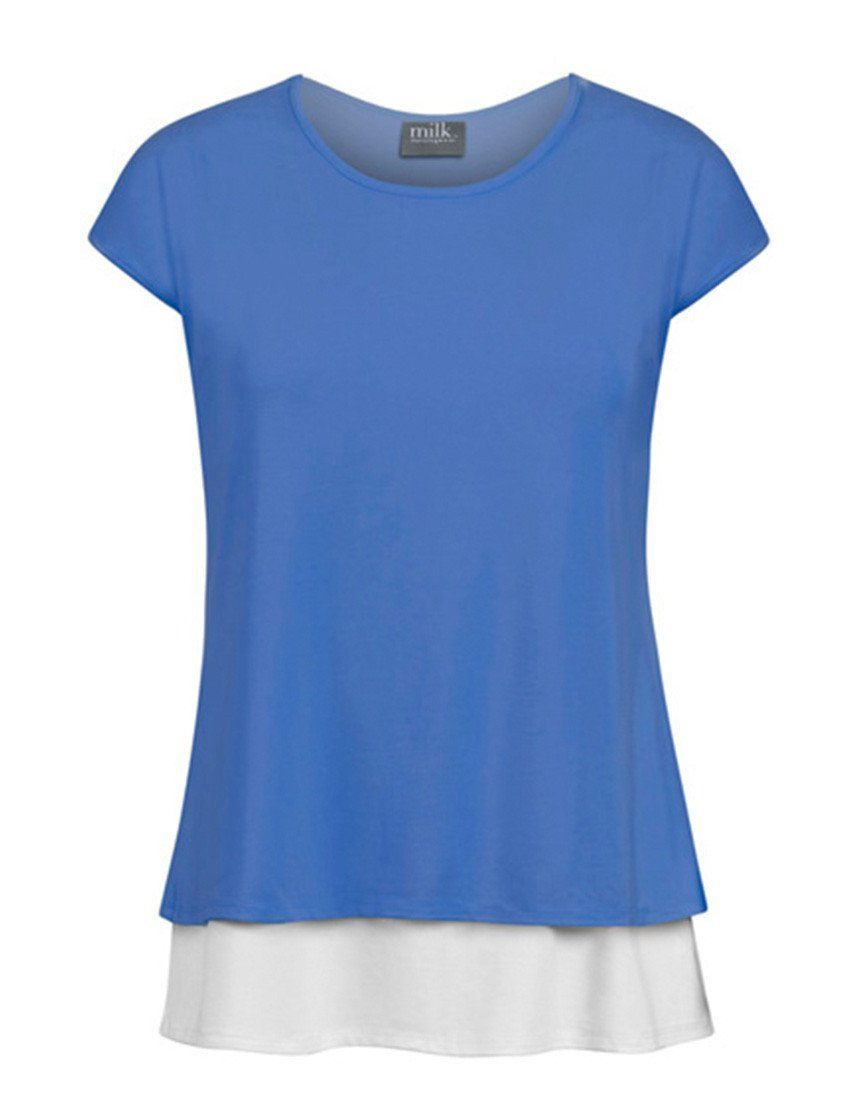 Scoop-neck layered color-block nursing tee