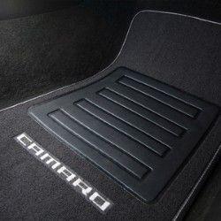 Chevrolet Camaro Floor Mats Front And Rear Premium Carpet Premium Carpet Black Carpet Silver Camaro Logo Silver Chevrolet Accessories Camaro Black Carpet