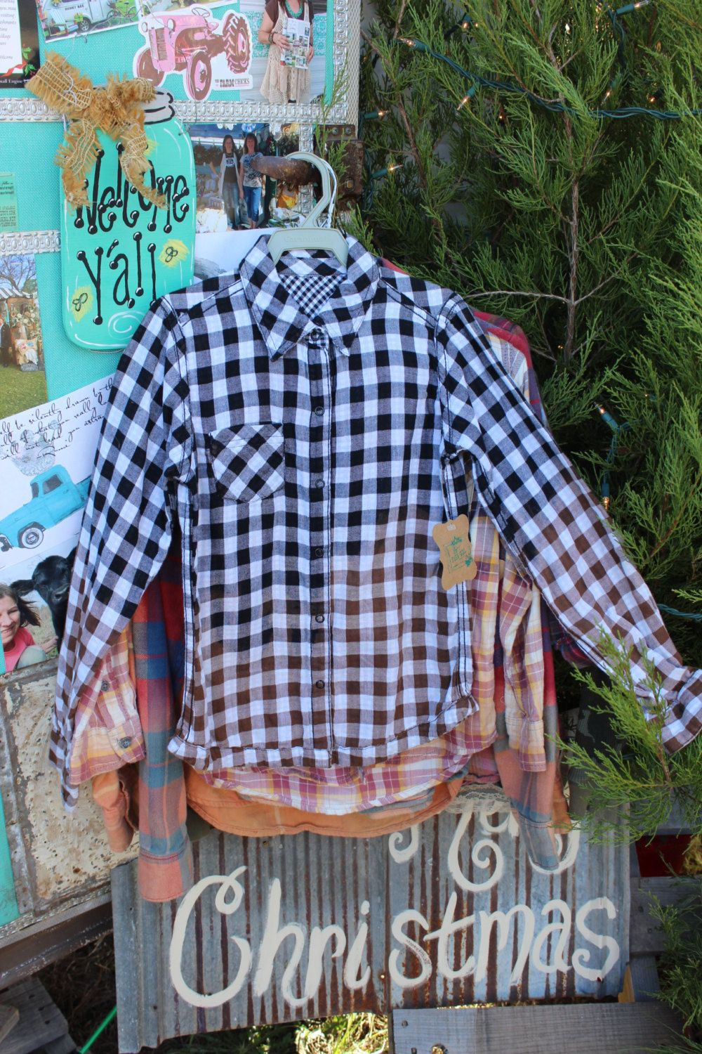 Size 6 / 7 / 8 Kids Black and Brown Distressed Flannel Shirt / Bleached Flannel / Long Sleeve Check Flannel / Bleached, Grunge Flannel FF97 by GypsyFarmGirl on Etsy