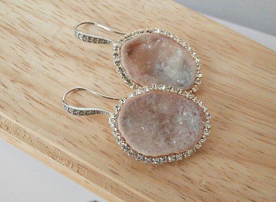 Tabasco Geode Earrings Blush Slice Earrings by DoolittleJewelry, $275.00