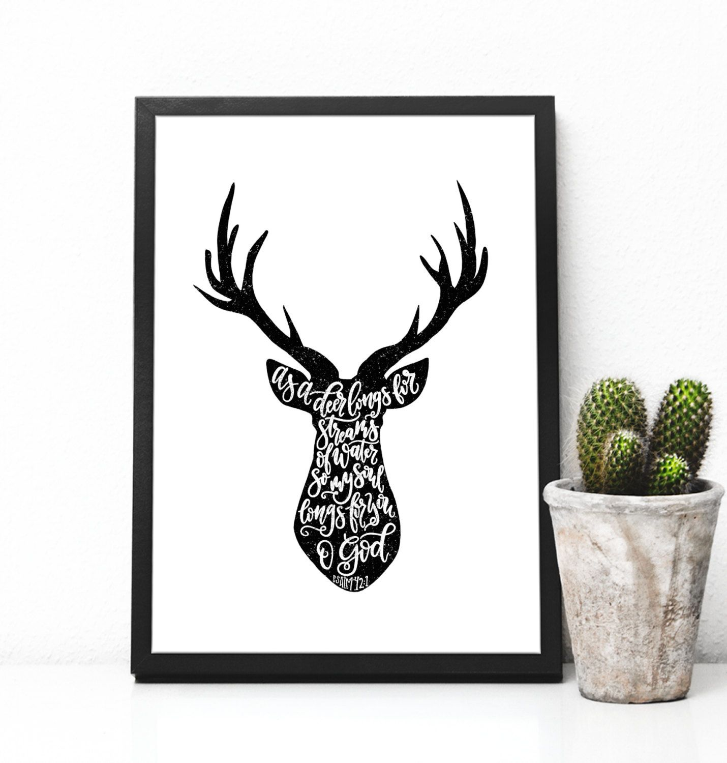 Psalm 42:1 Deer Head Silhouette With Hand Lettering