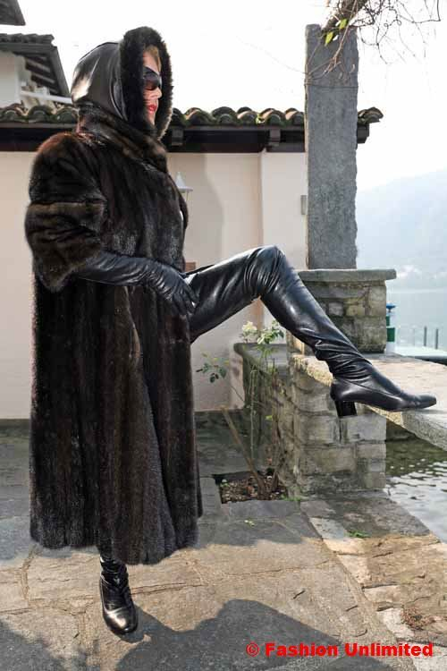 Fur Coat Leather Gloves And 60s Thigh Boots Leather