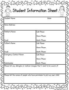 Student Information Sheet on Pinterest | Parent Contact Sheet ...