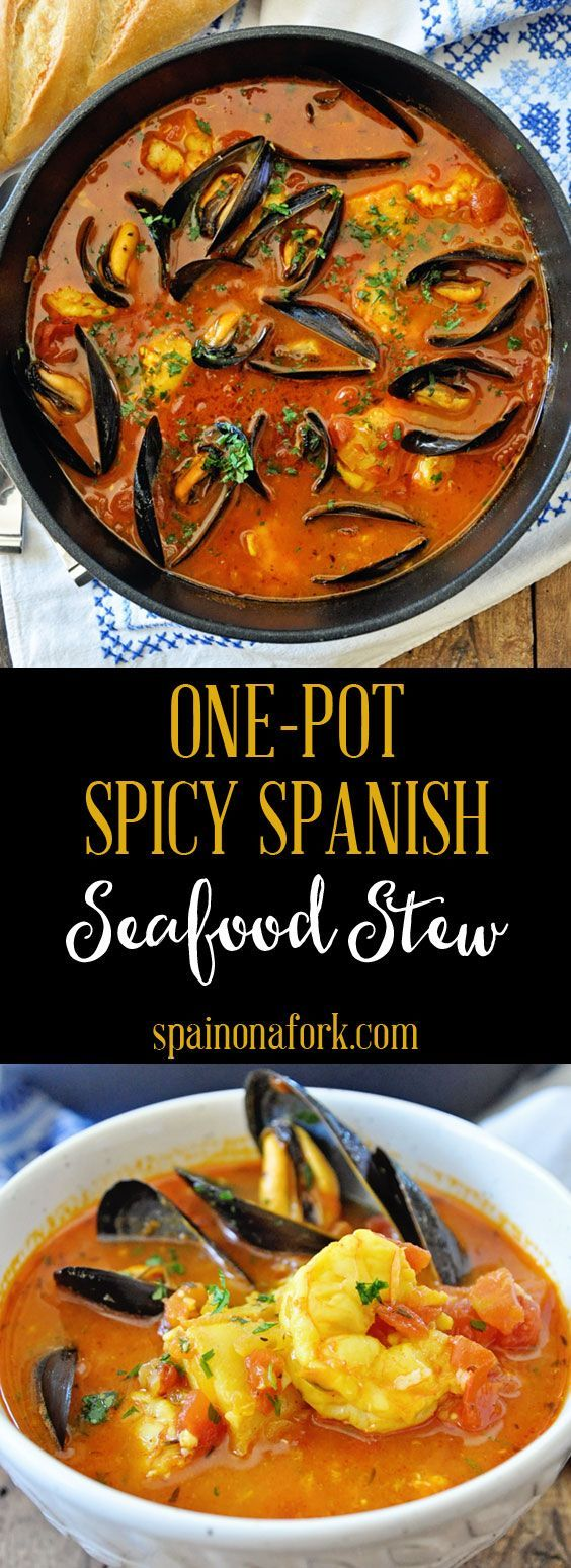 One-Pot Spicy Spanish Seafood Stew Recipe - Spain on a Fork #seafoodstew