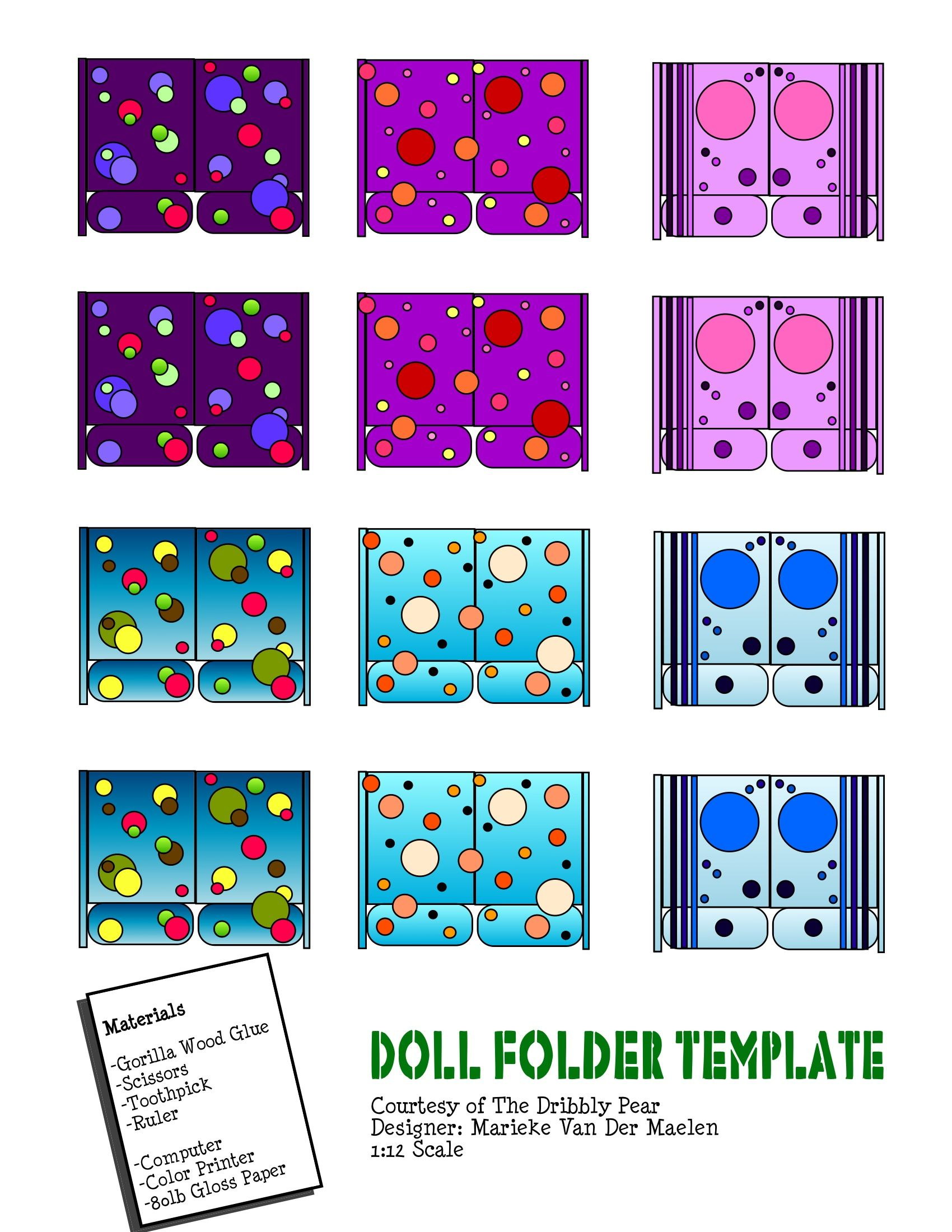 Free Two Pocket Folder School Supplies Template For 112 Scale