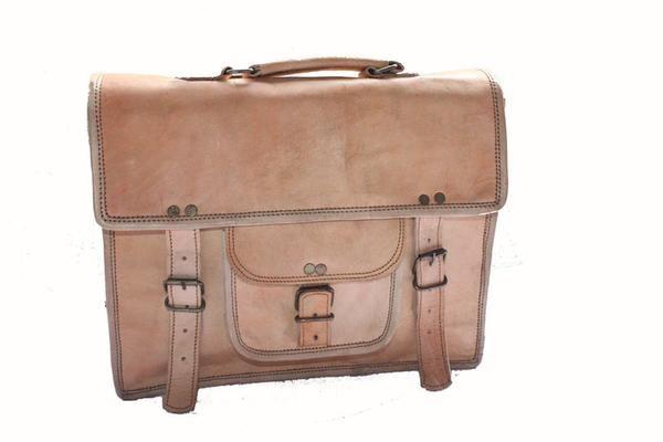 Unisex Light Brown Satchel Briefcase From thegiftboxformen