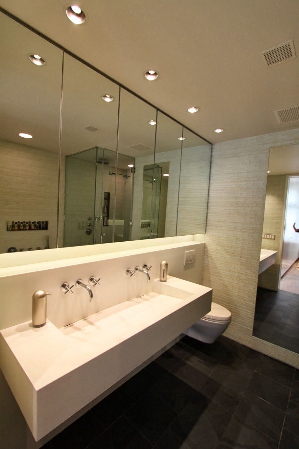 Bathroom With Large Wall Mirror Design Also Cool Recessed Lighting And Minimalist Trough Sink Idea Bathroom Recessed Lighting Restroom Design Recessed Lighting