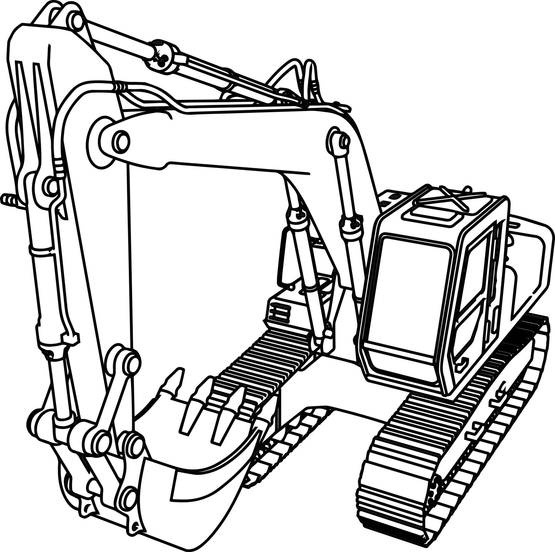 Inspired Picture of Excavator Coloring Page Truck