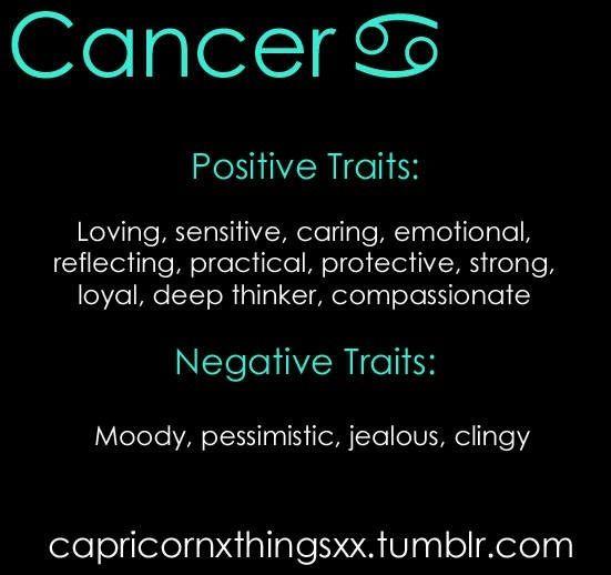Cancer Positives & Negatives   Cancer traits, Cancer facts
