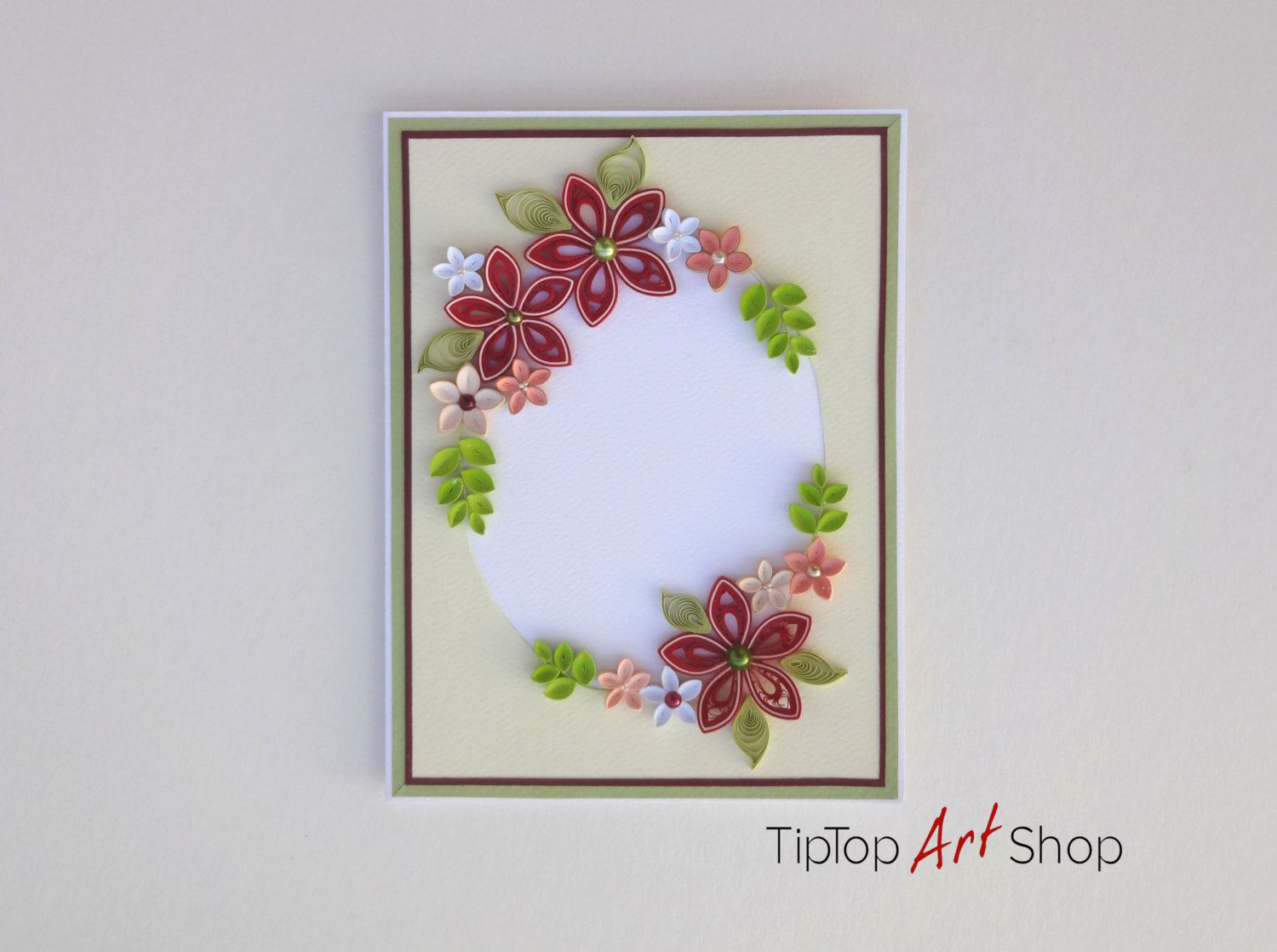 Quilled Homemade Greeting Card With 3d Paper Flowers Personalized