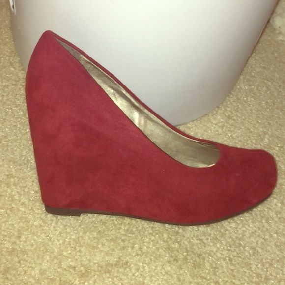 Red suede wedges Fergalicious red suede wedges. Only worn once. Fergalicious Shoes Wedges