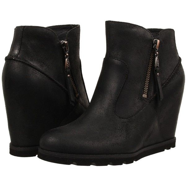 UGG Myrna (Black Leather) Women's Wedge Shoes ($105) ❤ liked on Polyvore