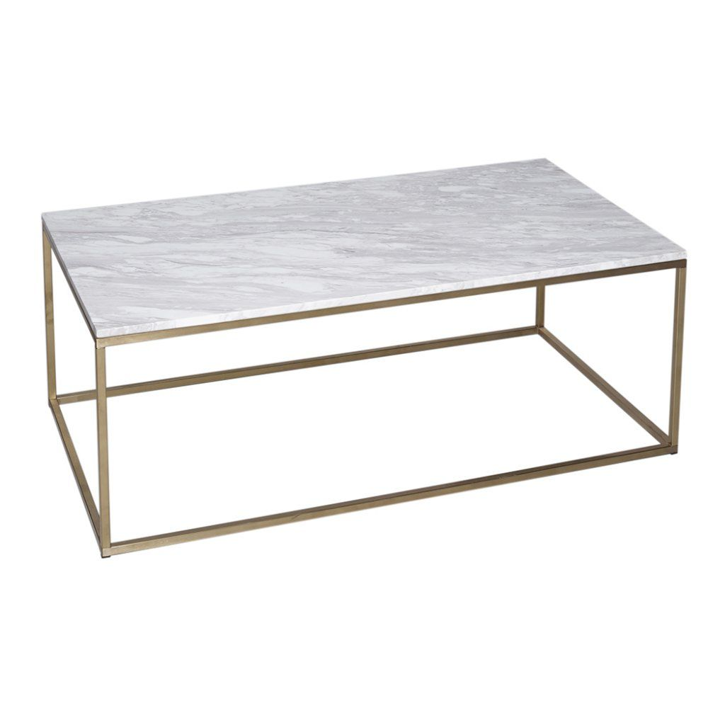 Gillmore Space White Marble and Gold Metal Contemporary Rectangular