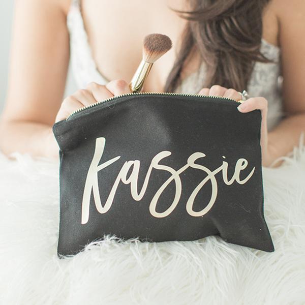 Bridesmaid Makeup Bag Black Bridesmaid makeup bag