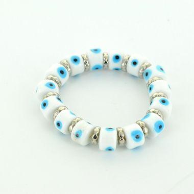 Evil Eye Bracelet -White and Light Blue Short Glass Ornament