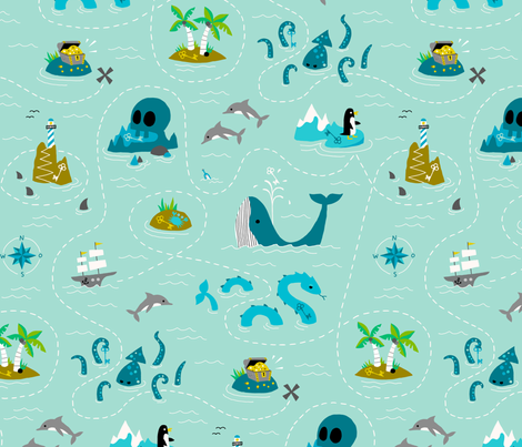 Treasure hunt fabric by heleen_vd_thillart on Spoonflower - custom fabric