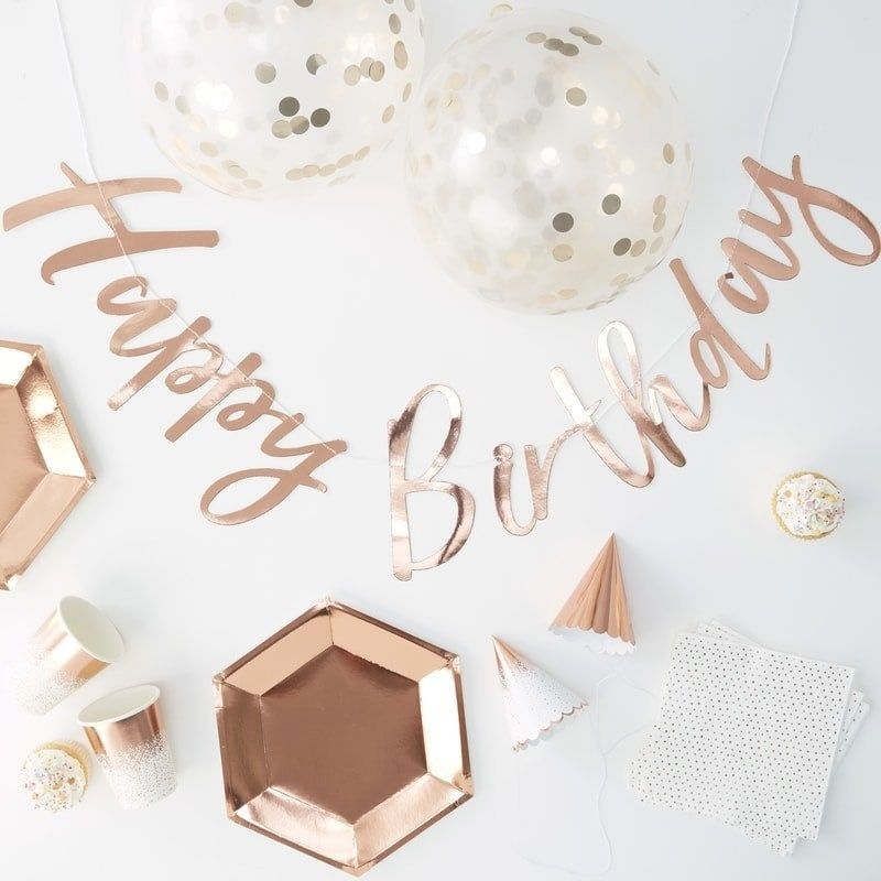 """""""Throwing a party has never been easier with our rose gold foiled 'Party in a Box'. The rose gold design will be loved by guests of all ages and they will be wowed by the beautiful matching pieces that catch the light with our rose gold dotty detailing. With everything you need it really is effortless party glamour all in one box! Grab a box to decorate your party all in one! The chic rose gold foiled design comes with rose gold plates, Ombre cups, confetti balloons, party hats in two designs (o"""