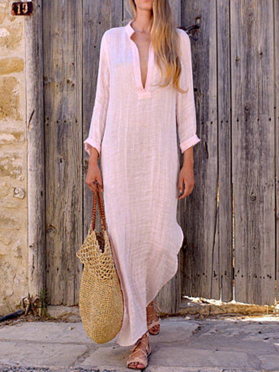 Split neck plain long sleeve maxi dress in shopforselection