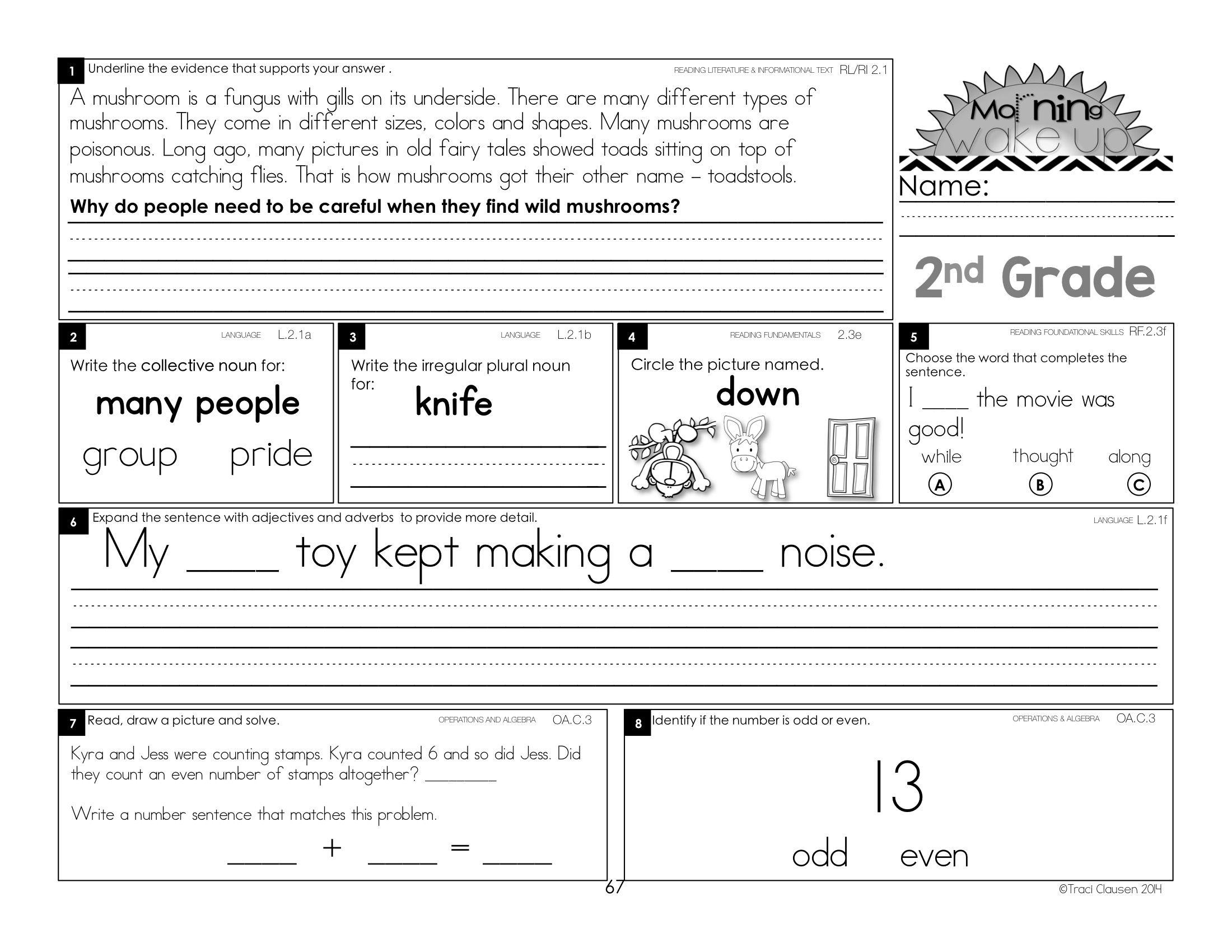 Morning Work - Morning Wake Up 2nd Grade Common Core ELA and Math ...