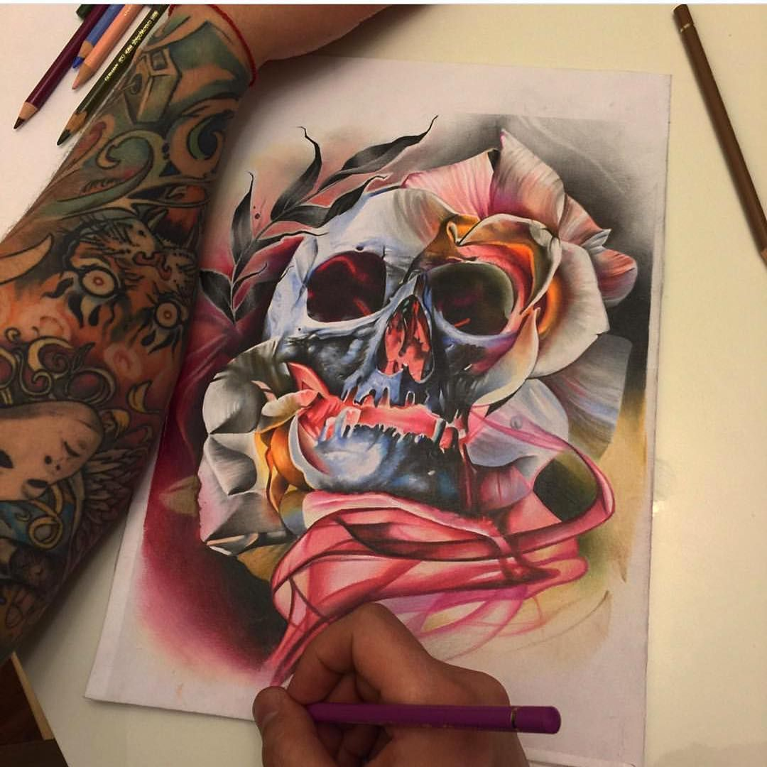 Skull Drawing By Sergey Shanko Tattoos Gallery Skull Drawing Body Art Tattoos
