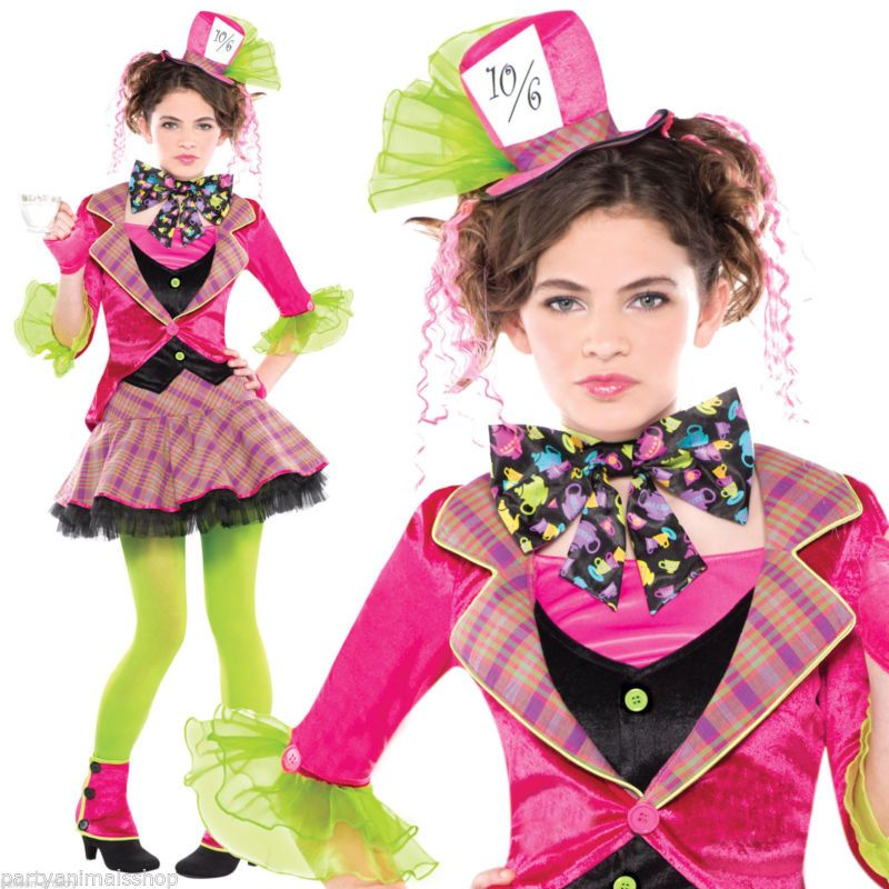 Teens Girls Mad Hatter Alice In Wonderland Fancy Dress Party Costume