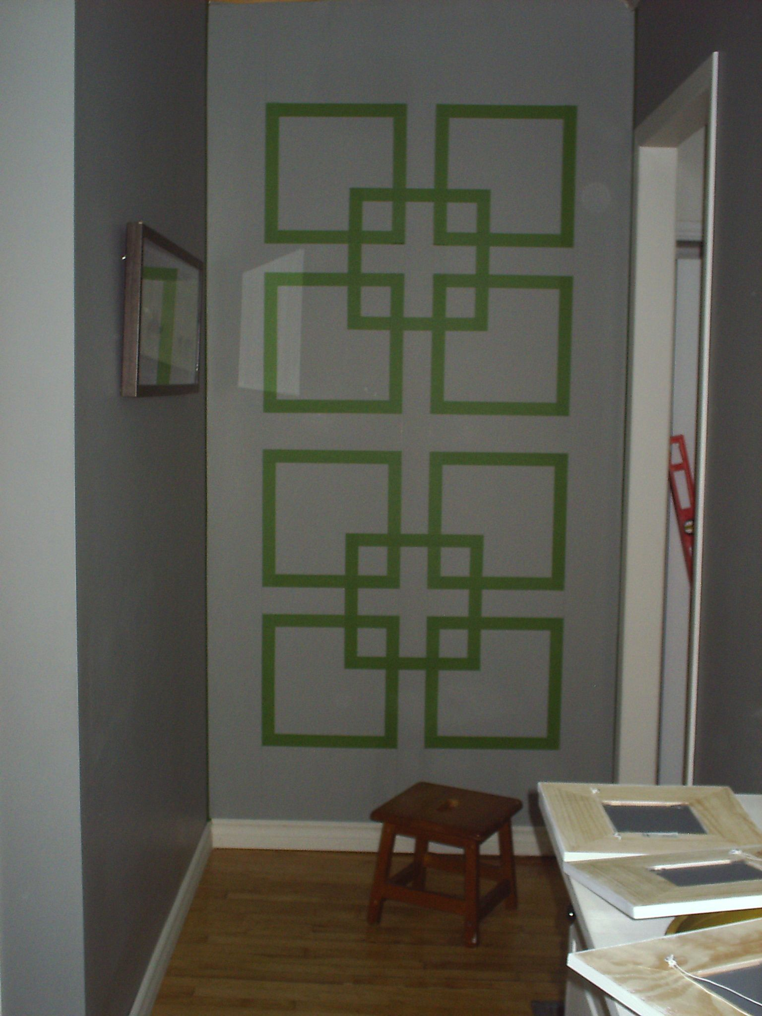 tape designs for painting walls  Here it is all taped up and