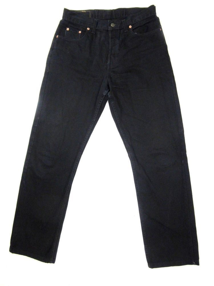 Levis 618 black denim jean straight loose fit button fly