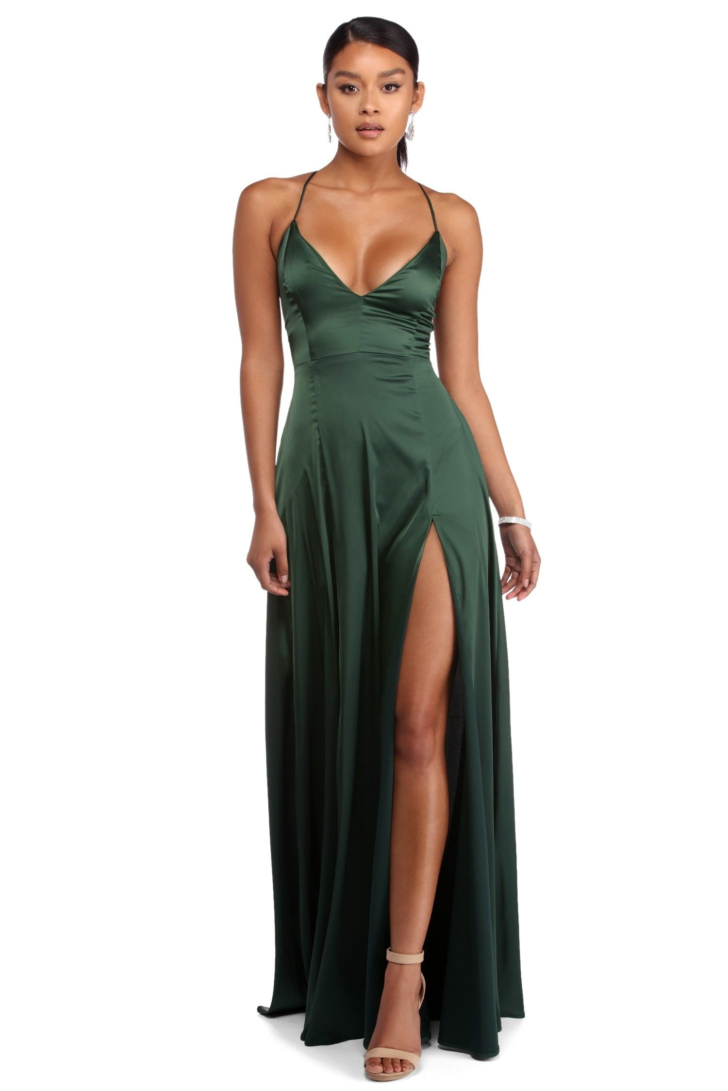 c022b13e217 Vera Emerald Satin Lace Up Formal Dress | promsicle in 2019 | Formal ...