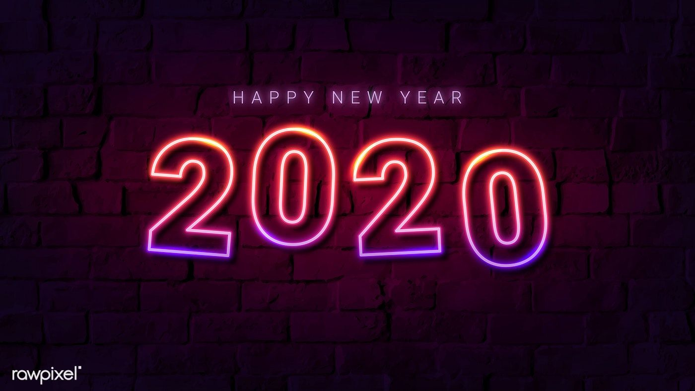 Download premium vector of Neon pink happy new year 2020