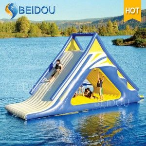 Hot Sale Popular Durable Giant Inflatable Pool Floating Water Slide Floating In Water Lake Fun Inflatable Water Slide