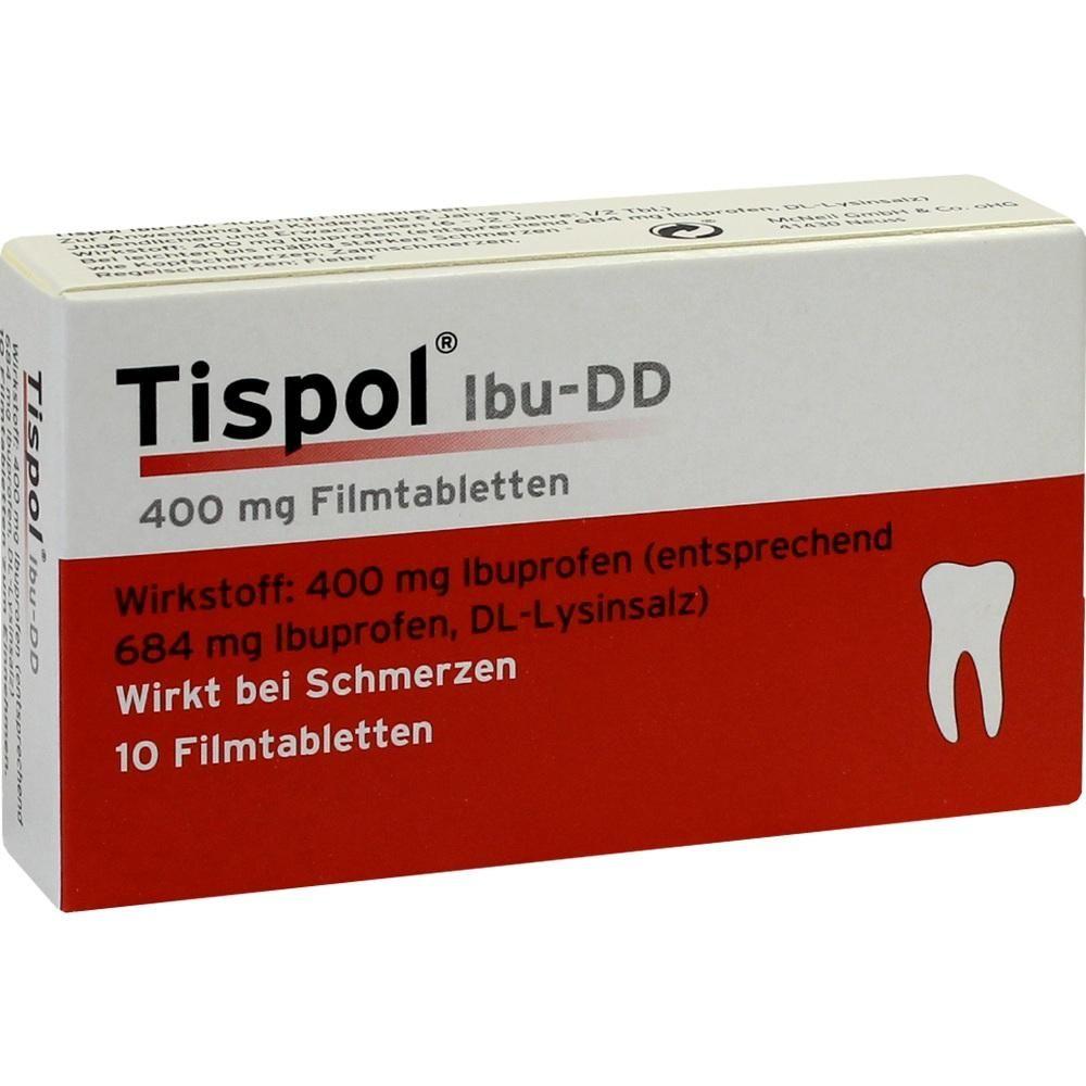 TISPOL Ibu DD Filmtabletten mit Ibuprofen:   Packungsinhalt: 10 St Filmtabletten PZN: 00579773 Hersteller: Johnson&Johnson GmbH-CHC…