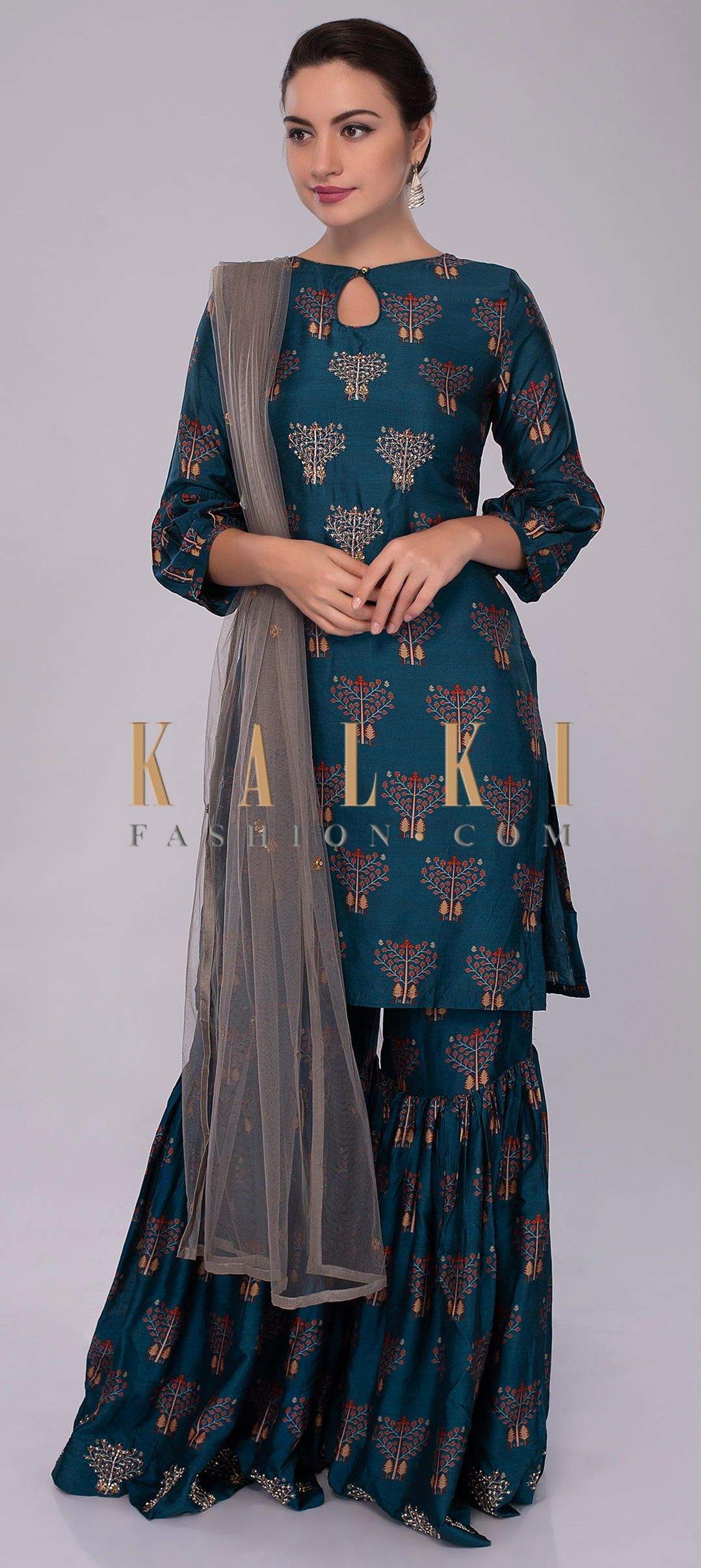 Buy Online from the link below. We ship worldwide (Free Shipping over US$100)  Click Anywhere to Tag Azure-blue-cotton-silk-sharara-suit-in-print-and-embroidered-butti-only-on-Kalki #shararadesigns Buy Online from the link below. We ship worldwide (Free Shipping over US$100)  Click Anywhere to Tag Azure-blue-cotton-silk-sharara-suit-in-print-and-embroidered-butti-only-on-Kalki #shararadesigns