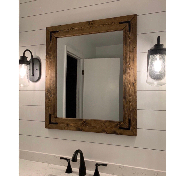 Dark walnut farmhouse mirror framed mirror rustic wood