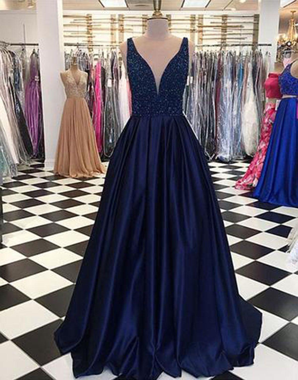 Unique navy blue satin long v neck sequins halter evening dress