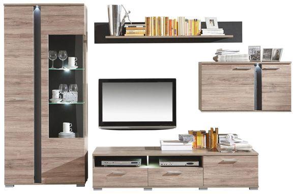 Diese Wohnwand Punktet Mit Modernem Design Und Viel Stauraum! Die Wohnwand  Besteht Aus Einem Hängeschrank