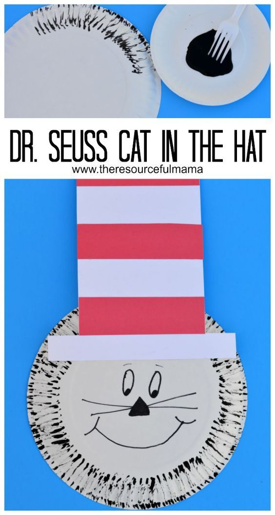 Dr. Seuss The Cat in the Hat paper plate and fork painting craft project for kids.