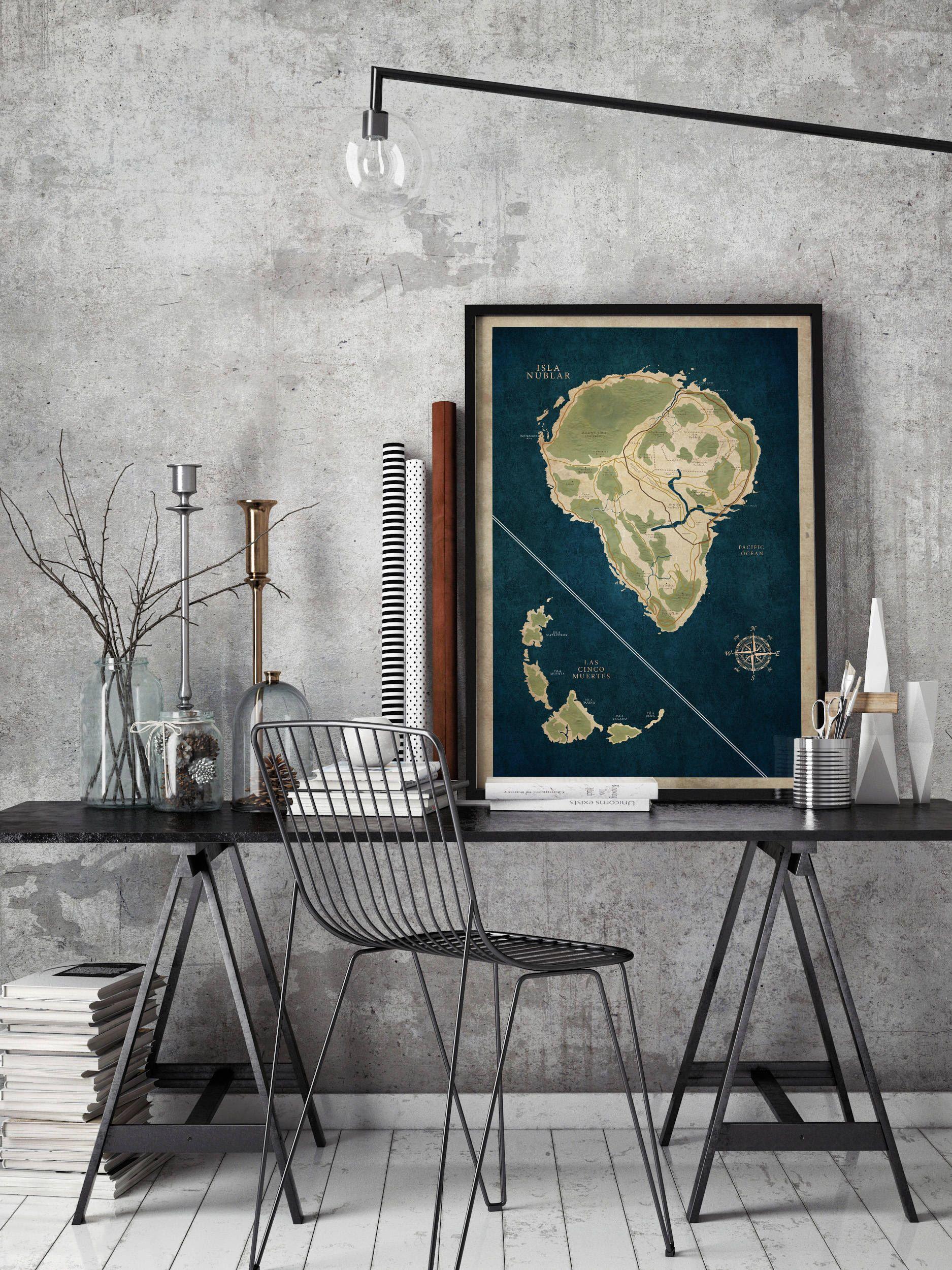 Jurassic park map poster isla nublar map print lost world