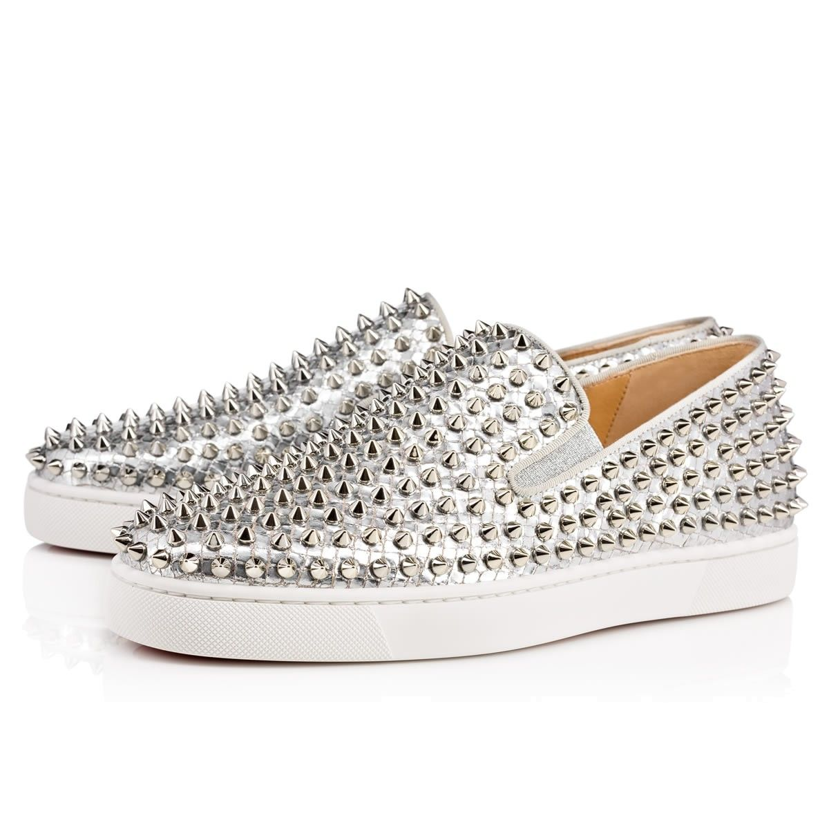 Christian Louboutin United States Official Online Boutique - Roller-Boat  Men\u0027s Flat Silver Lame Sirene available online. Discover more Men Shoes by  ...
