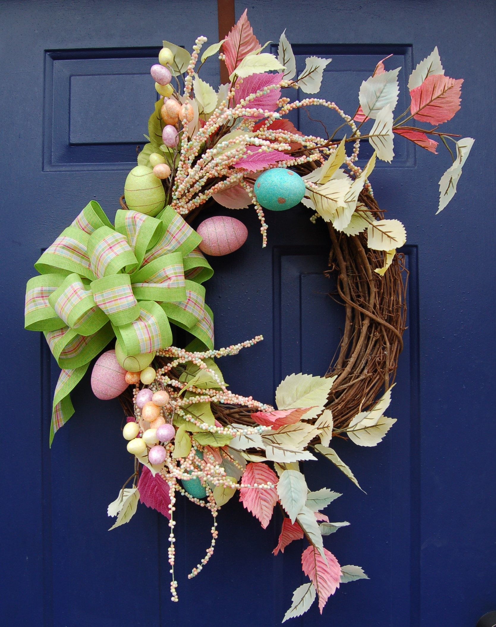 Photo of Easter Egg Grapevine Wreath-Spring Wreath-Front Door Wreath