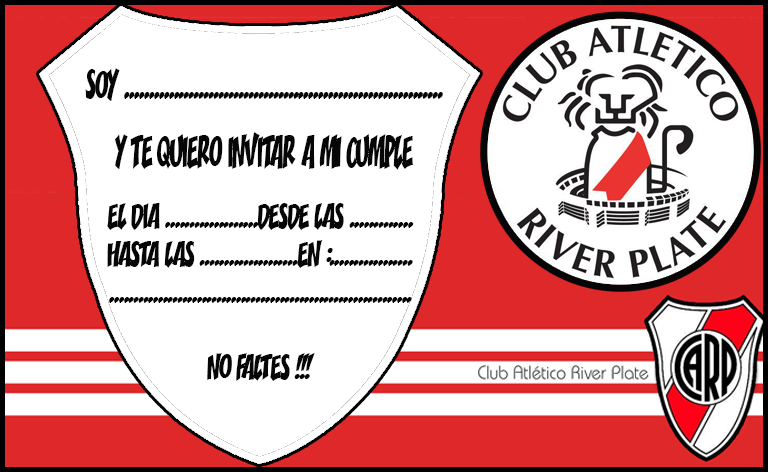 Invitacion Tarjetita Candy Bar River Plate Kit Imprimible