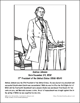 Andrew Johnson Worksheets and Coloring Pages: Andrew