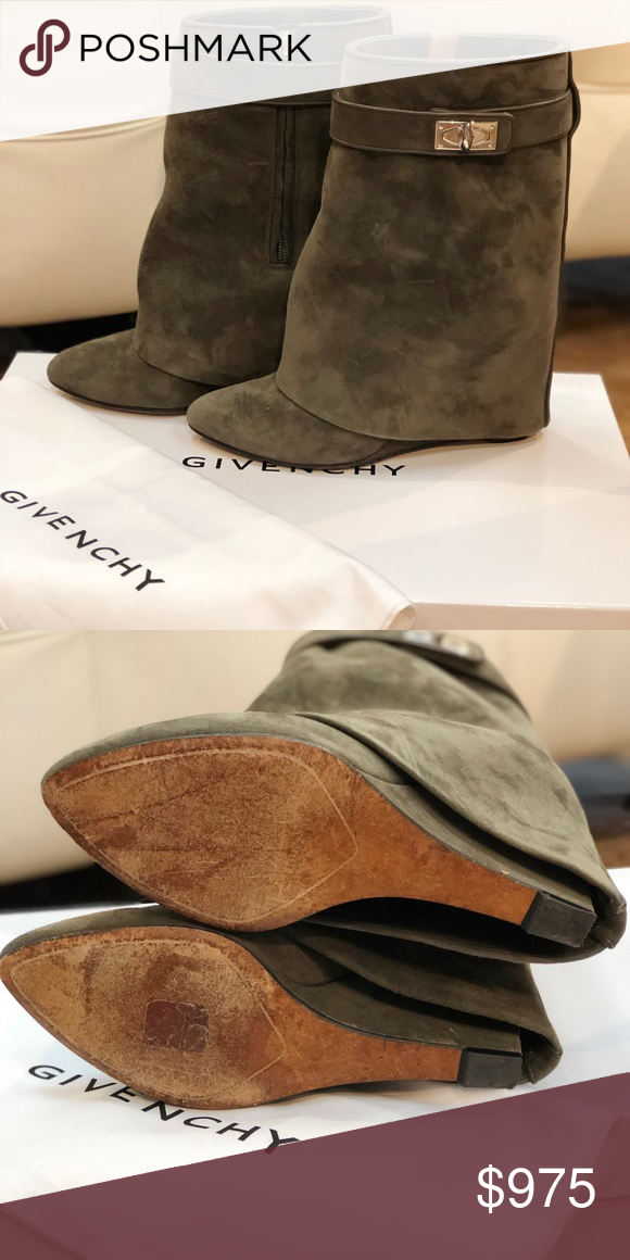 bcfb27041b15 Givenchy Shark Lock Ankle Boots Olive Green Suede with Silver Detail Box  and Dust Cover Included Givenchy Shoes Ankle Boots   Booties