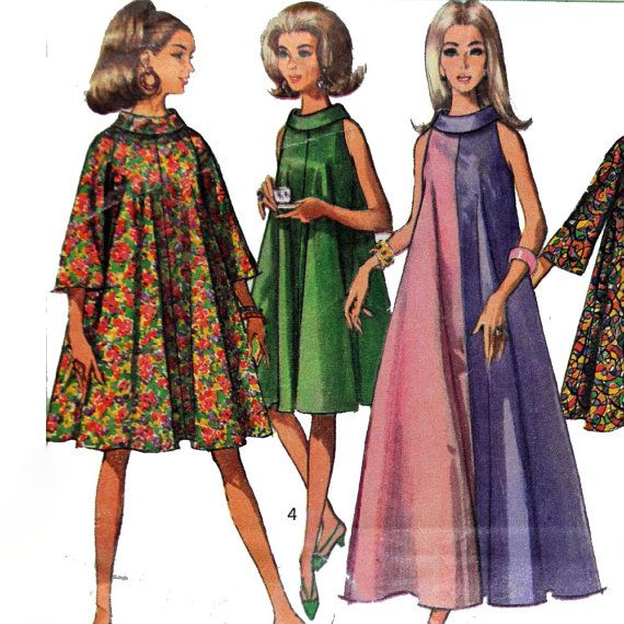 Vintage 60s Maxi Dress Pattern MOD TENT Dress Funnel Neck Hippie ...