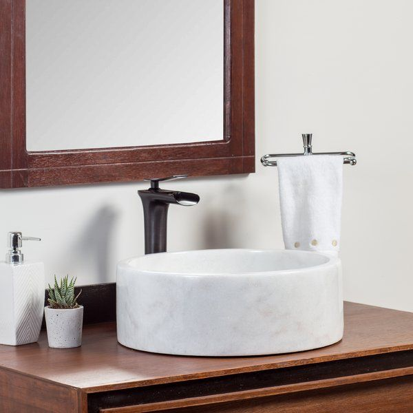 Laguna Marble Ordu Stone Circular Vessel Bathroom Sink | Wayfair