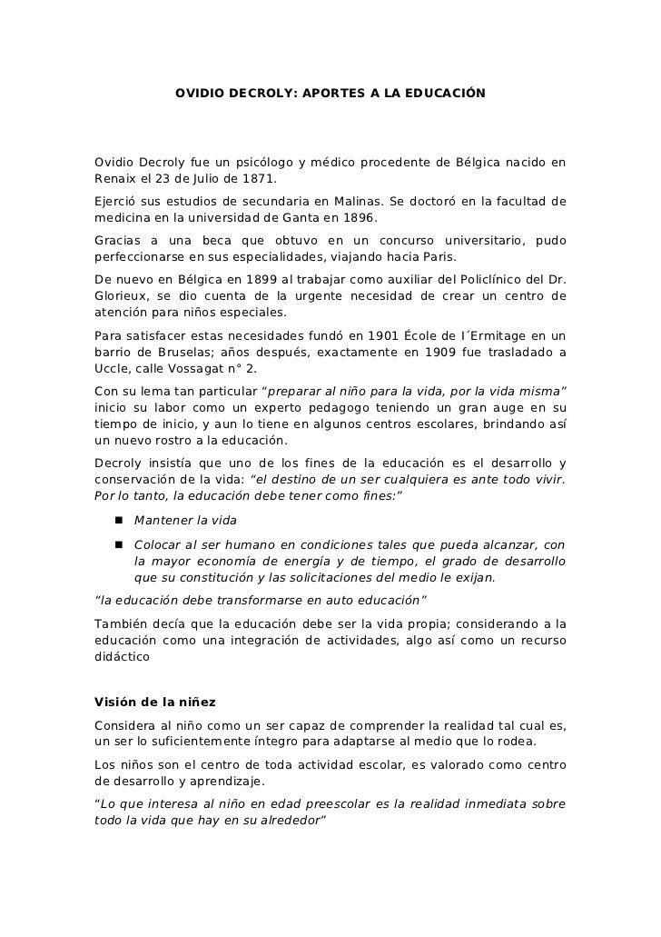 OVIDIO DECROLY APORTES A LA EDUCACIÓNOvidio Decroly fue un - work contract template