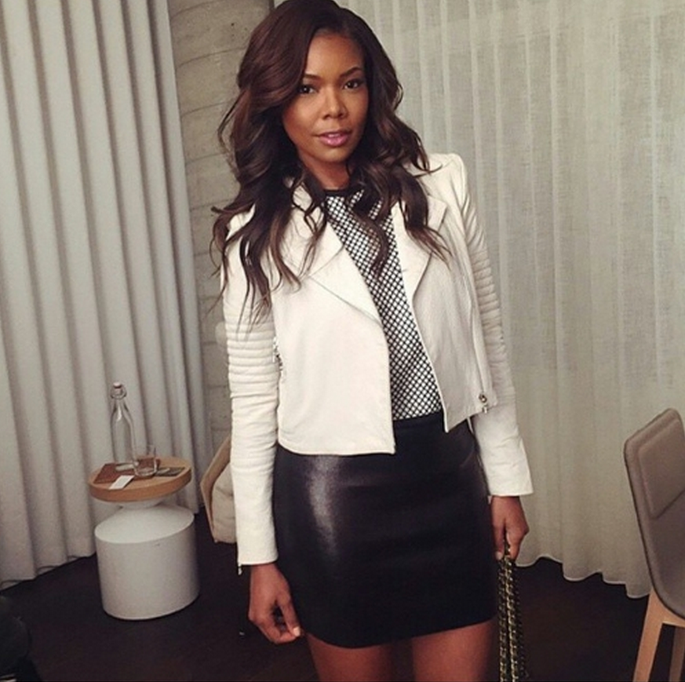 7f3775cea Gabrielle Union in Aiah Leather Jacket in White. #JBRAND | Mary jane ...