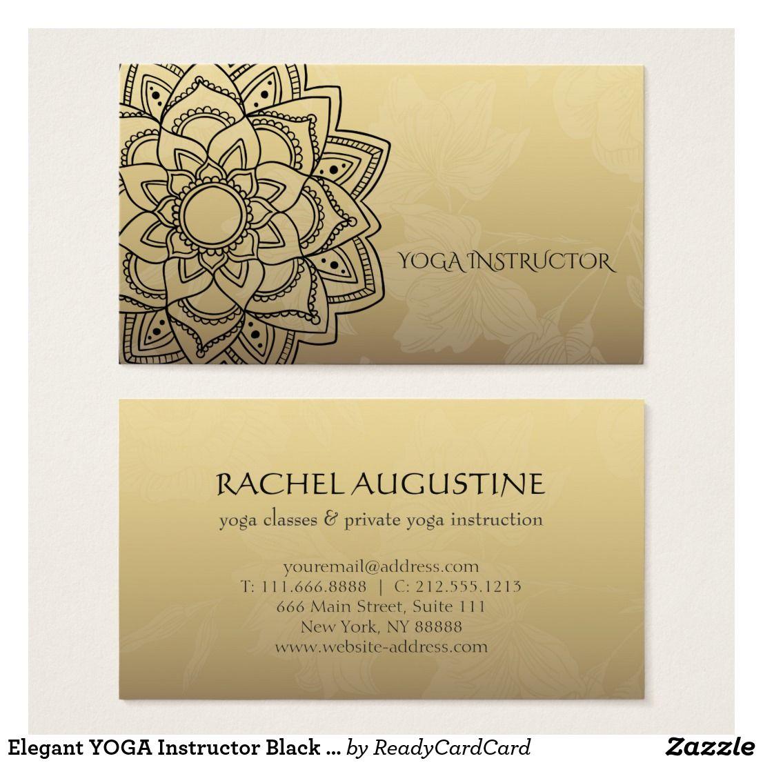 Elegant Yoga Instructor Black Gold Floral Mandala Business Card Zazzle Com Teacher Business Cards Yoga Teacher Business Cards Yoga Instructors