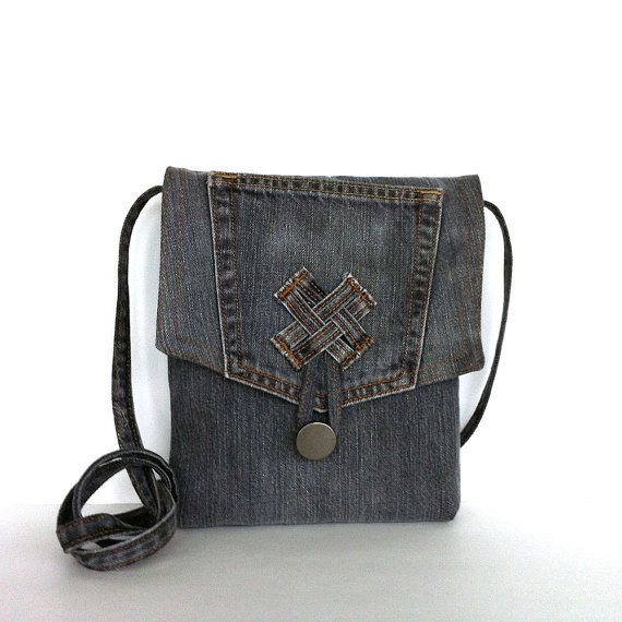 I made this small messenger bag from upper part of a gray denim ...